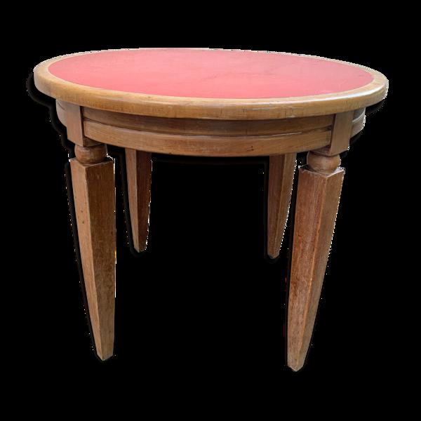 Selency Table en bois et formica rouge 1960