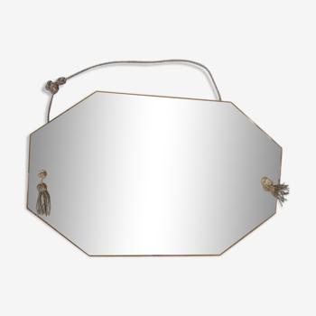 Miroir octogonal biseauté avec pampilles 50x80cm