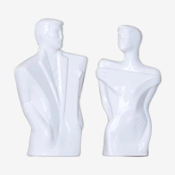 Paire de bustes en céramique, homme et femme, années 80