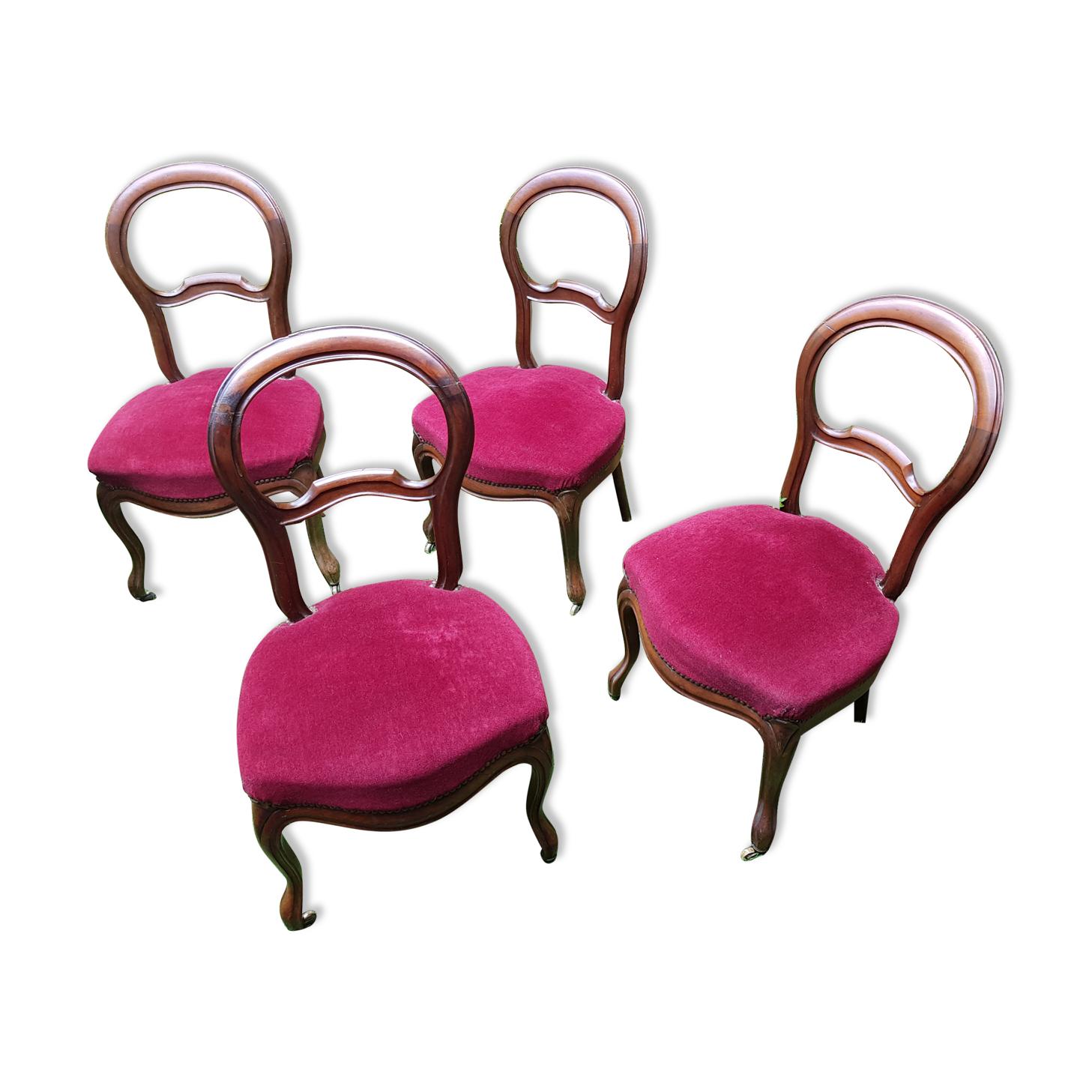 4 chaises médaillon tapissées style Louis Philippe