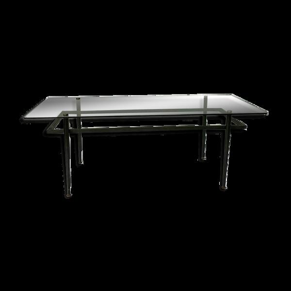 Selency Table basse travail francais 1960 piètement tubulaire noir plateau verre