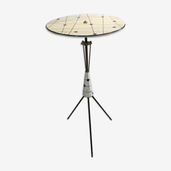 Table tripode, céramique et laiton, vintage des années 50