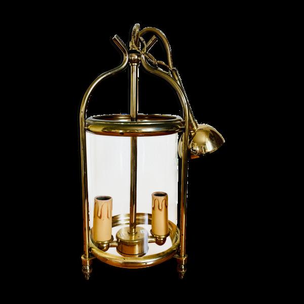 Lanterne cage à 2 lumières en régule style Louis XVI