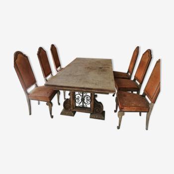 Table de salle à manger et 6 chaises, circa 1940