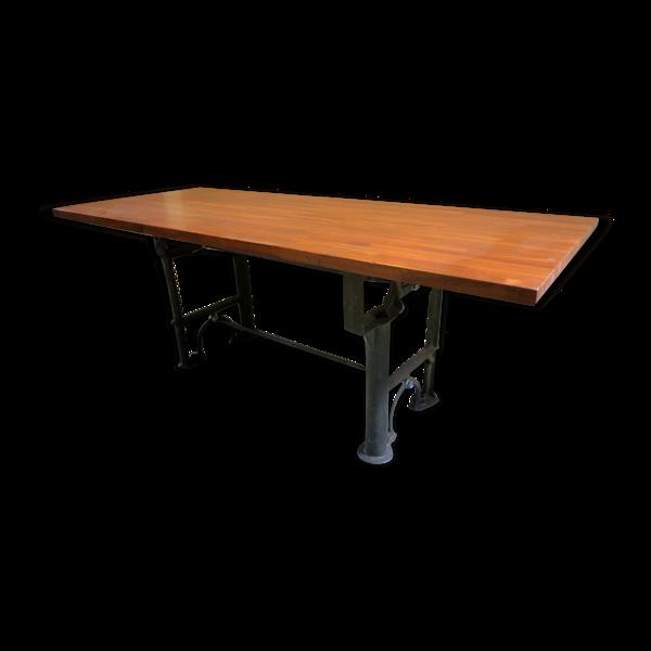 Selency Table à manger en acajou avec base industrielle antique de 1900