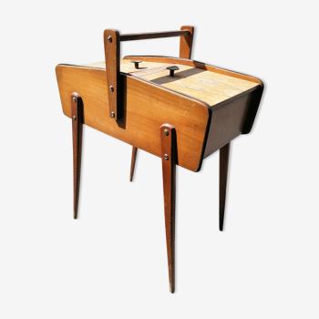Travailleuse boite à couture bois pieds compas vintage
