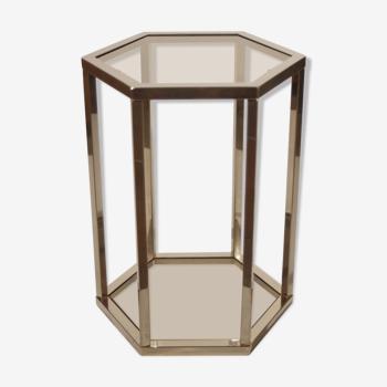 Guéridon hexagonal post-moderne laiton & verre fumé 1970s