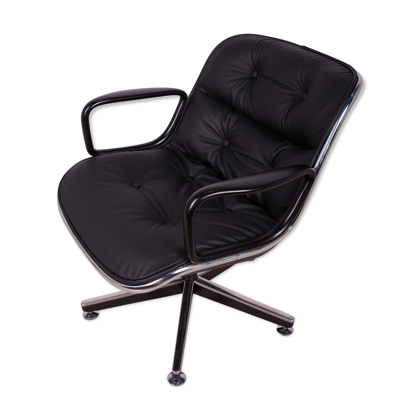 Chaise de bureau en cuir noir par Charles Pollock pour Knoll Inc. / Knoll International, années 1970