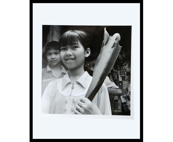 Portrait d'art N&B de jeunes enfants reportage Asie du Sud Est années 50.