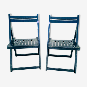 Paire de chaises pliantes en bois
