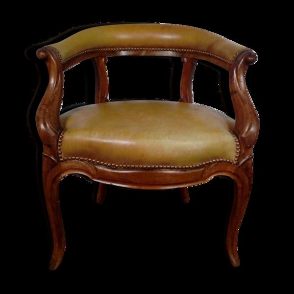 Fauteuil de bureau restauration Louis Philippe noyer et cuir 19eme