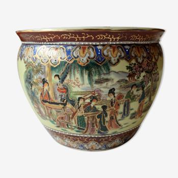 Cache-pot en céramique asiatique millésime des années 1950