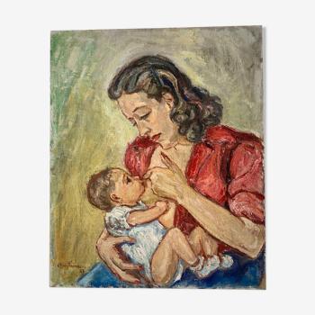 Portrait de femme allaitant