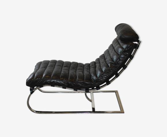 Chaise longue métal et cuir, 1970