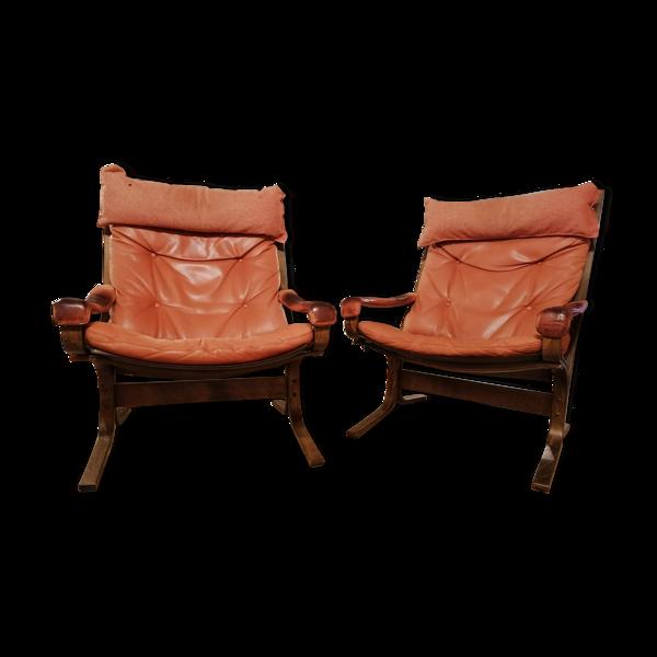 Selency Paire de fauteuils scandinave 1960 avec repose pied