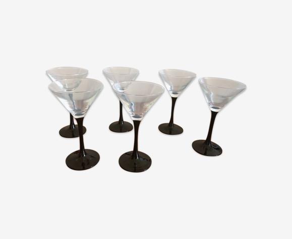 Lot de 6 verres à pied noir martini Luminarc 70s vintage