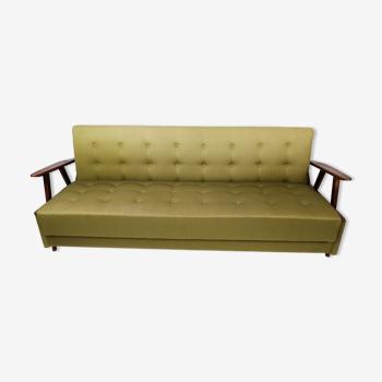 Canapé-lit en laine verte et pieds en teck, années 1950