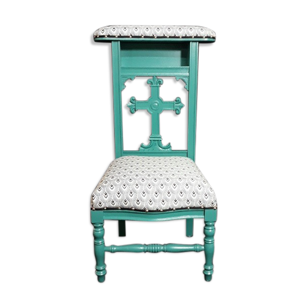 Chaise prie dieu ancien relooké