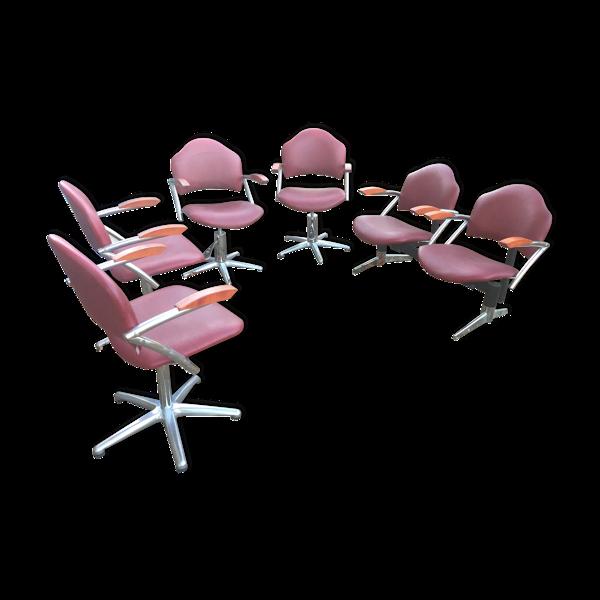 Selency Set de 6 fauteuils de salon de coiffure
