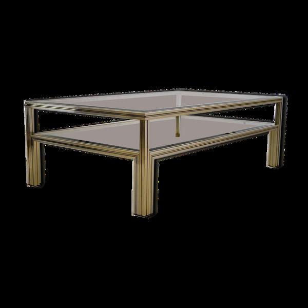 Selency Table basse à deux niveaux en laiton laqué et verre Pierre Vandel, vers 1970
