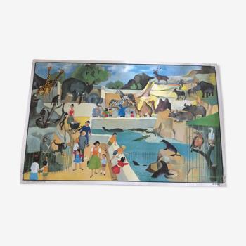 Affiche scolaire double face le zoo/l'aérogare