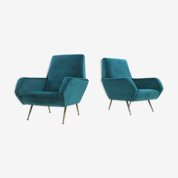 Ensemble de 2 fauteuils italiens du milieu du siècle en velours turquoise