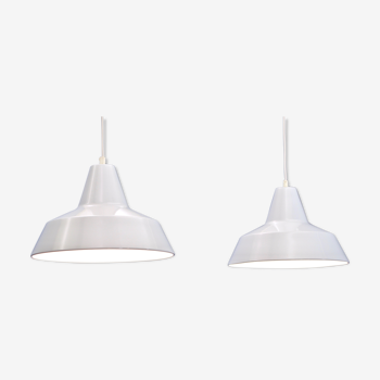 Set of 2 danish hanging lamps in white by Nordisk Solar, 1980s