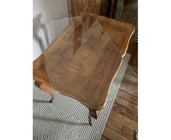 Table console bureau ancien en marqueterie
