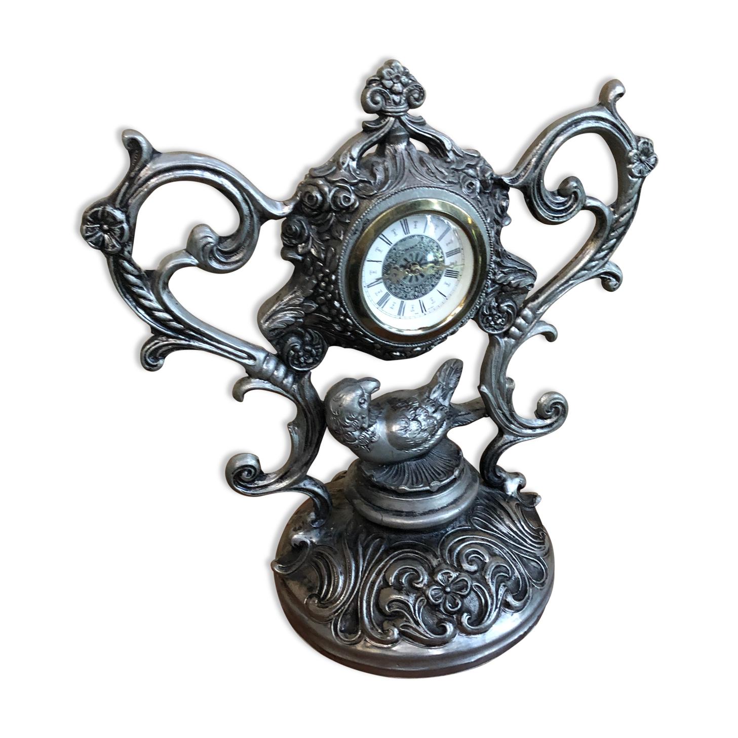 Ancienne horloge pendule de table style baroque métal gris made in italy vintage