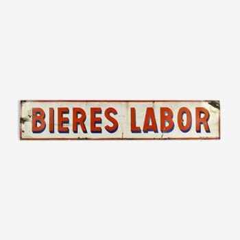 Plaque émaillée publicitaire Bières Labor