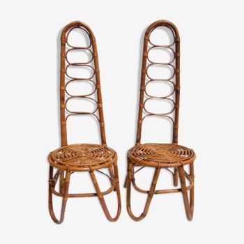 Two Dirk Van Sliedregt rattan chairs,1950s