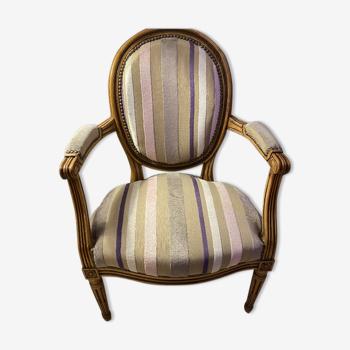Fauteuil cabriolet Louis XVI tissu Guild