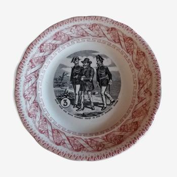 Assiette parlante à thème Gien N° 3 fin XIXème
