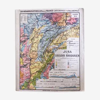 Carte scolaire ancienne Jura et couloir Rhodanien