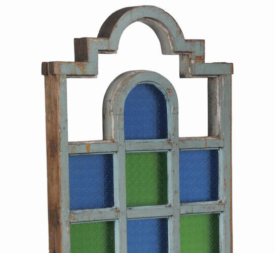 Paravent art deco bois et verre colores piece d'origine inde