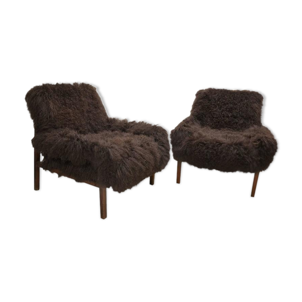 Selency Paire de fauteuils italiens en laine d'agneau du Tibet