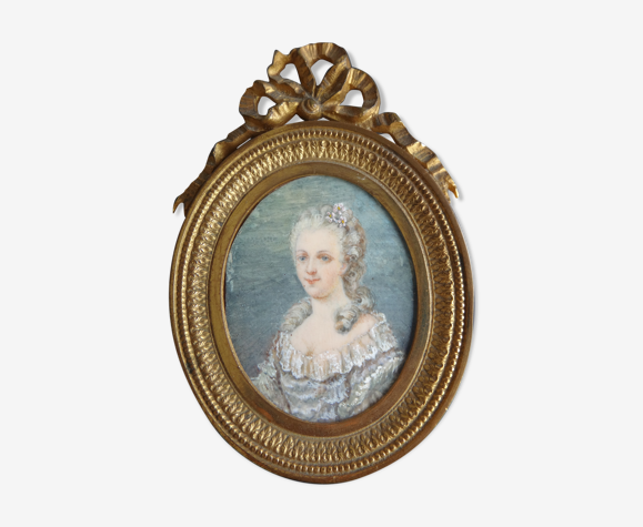 Miniature Marie Antoinette cadre bronze Louis XVI portrait XIX