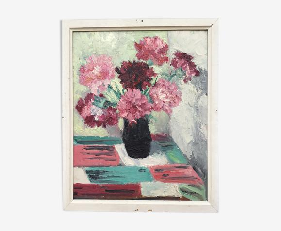 Tableau années 1950 bouquet de fleurs