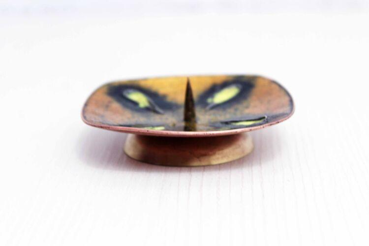 Pique cierge en cuivre émaillé