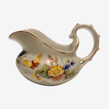 Russian porcelain milk pot floral décor and butterfly