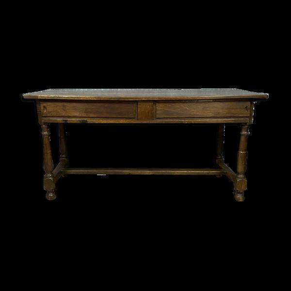 Table de ferme époque Louis XIII a glissants en chêne massif vers 1680-1700