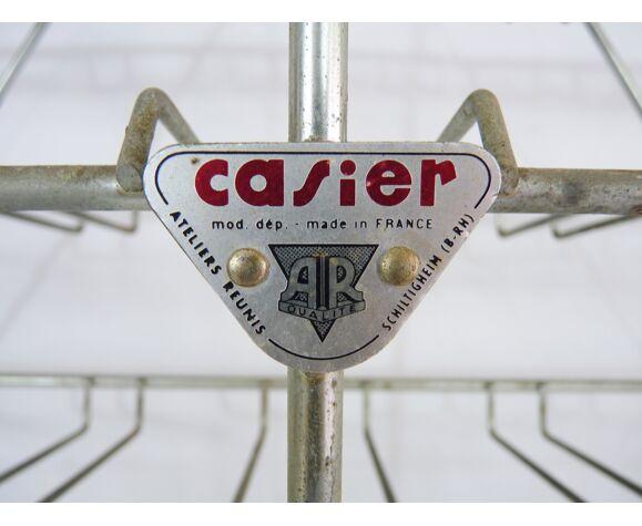 Ancien casier à bouteilles en métal, 40 bouteilleSs, marque Casier Ateliers réunis, année 50