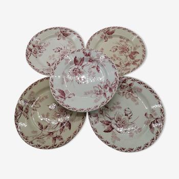 Lot de 5  assiettes plates vintage au décor de fleurs roses