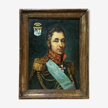 École Française vers 1880 : huile sur panneau de bois figurant un personnage notable historique (D)