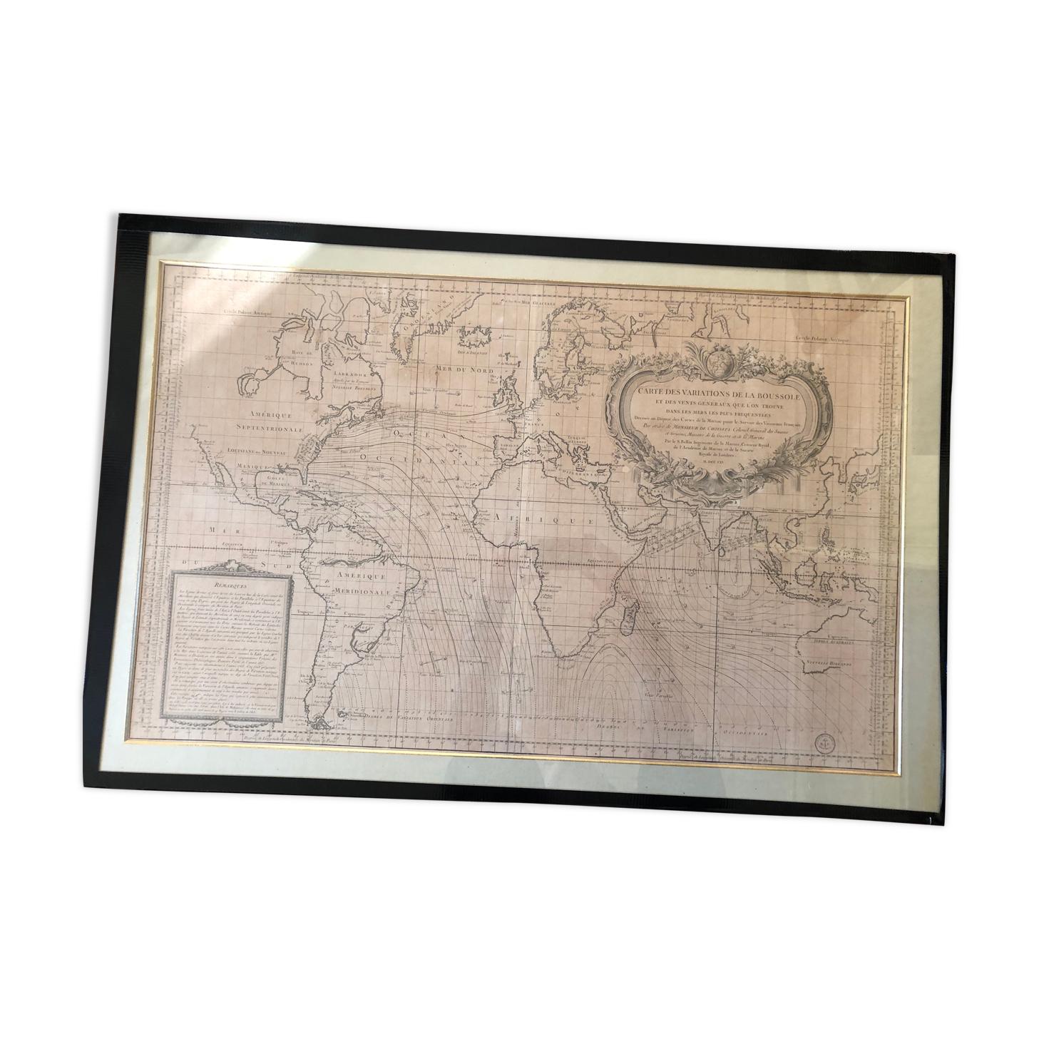 Planisphère Belin (Jacques-Nicolas) des variations de la boussole et des vents généraux que l'on trouve dans les mers les plus fréquentées, Paris, 1765