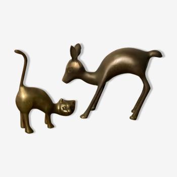 """Animaux """"le chat et le chevreuil"""" en laiton doré vintage 60"""
