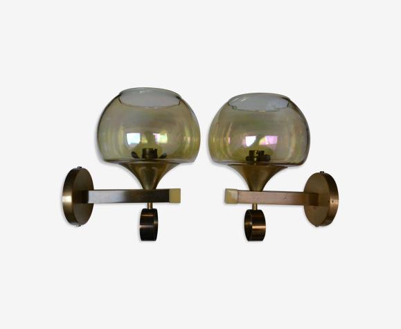 Paire d'appliques métal doré verre années 60/70