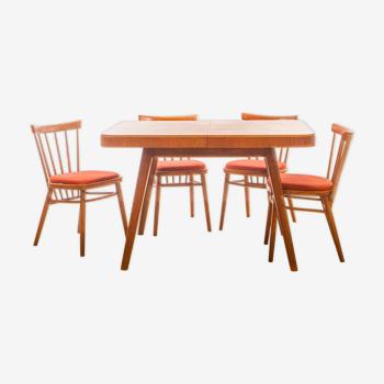 Ensemble table et 4 chaises Antonin Suman 1960
