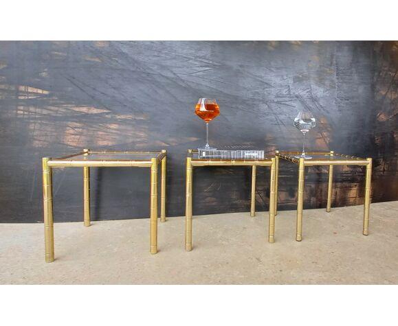 Maison lancel vintage, 3 bouts de canapé/tables d'appoint, en laiton doré façon bambou tbe.