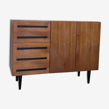 Meuble de rangement vintage 1960's 5 tiroirs 2 portes
